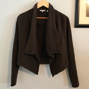 Vince Brown Cashmere Draped Open Front Cardigan